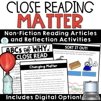 Reading Comprehension Passages and Questions Matter Nonfiction Close Reading