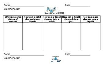 Matter Note-taking Sheet for BrainPOP Jr.