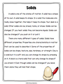 Matter Unit {Close Reads and Exploring Properties of Matter}