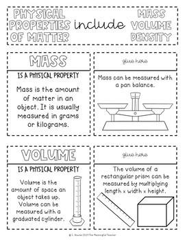 Physical Properties of Matter Interactive Notebook Activities