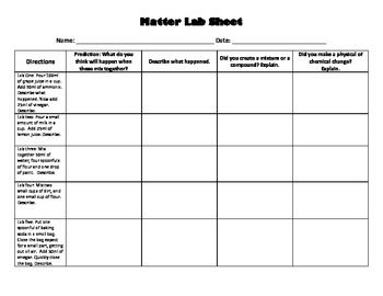 Matter: Physical Science Experiment