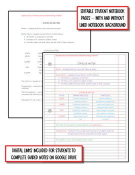 Matter: Physical Science Notes, PowerPoint & Test ~ EDITABLE
