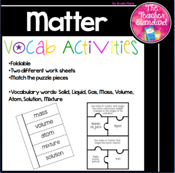 Matter, Physical Science Vocabulary Activities