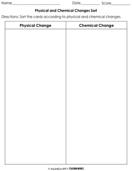 Matter: Physical and Chemical Changes Card Sorting Activity