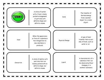 Matter: Physical and Chemical Changes Vocabulary Dominoes