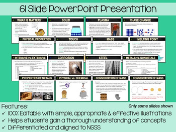 Matter Properties PowerPoint, Notes & Exam (Differentiated and Editable)