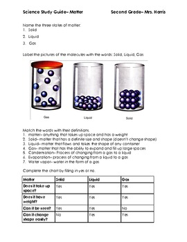 Matter Printables- Study Guide and Test