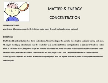 Matter: Properties & Change Vocabulary Concentration