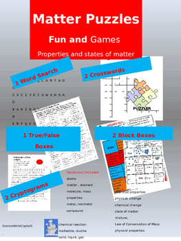 Matter Puzzles: Fun and Games with States and Properties o