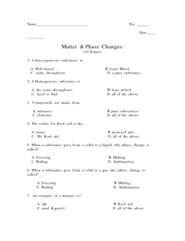 Matter Quiz (Classification Phase Changes)