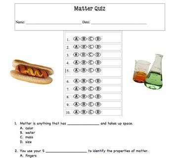 Matter Quiz/Worksheet  - multiple choice