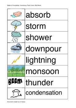 Matter Rain Weather  (Vocabulary,Flash cards, Word Walls)