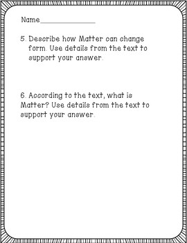 Matter Reading Comprehension Activity