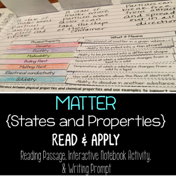 Matter Reading Comprehension Interactive Notebook