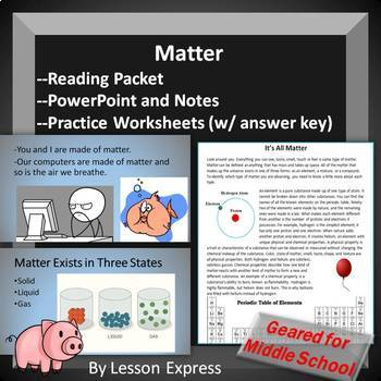 Matter -- Reading Packet, PowerPoint, Notes and Worksheets