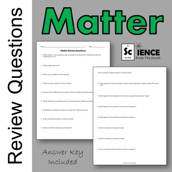 Matter Review Questions For Your Middle and High School Students