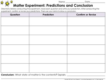 Matter: Scientific Investigations Experiment #2 - Liquid - Recording Sheets