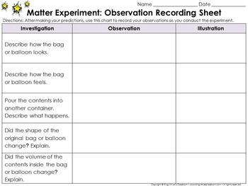 Matter: Scientific Investigations Experiment #3 - Gas - Recording Sheets