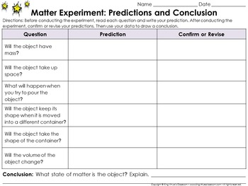 Matter: Scientific Investigations Experiment #1 - Solid - Recording Sheets