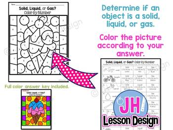 Matter: Solid Liquid Gas: Color-By-Number