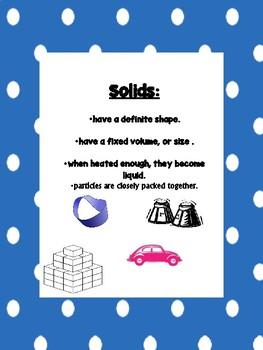 STAAR Review:Matter: Solids, Liquids, Gases..Describe, Explore, Compare Lab,