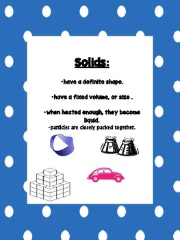 Matter: Solids, Liquids, Gases..Describe, Explore, Compare Lab,
