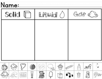 Matter ~ Solids, Liquids, & Gases Sorting Worksheet