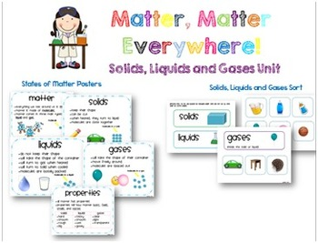 Matter Unit: Solids, Liquids and Gases {Experiments, Lessons, and Printables}