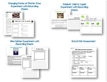 Matter Unit: Solids, Liquids and Gases {Experiments, Lessons, and Printables}