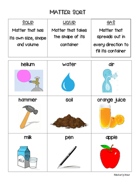 Matter Sorting Center--Solids, Liquids and Gases