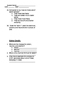 Matter & States of Matter Unit TEST