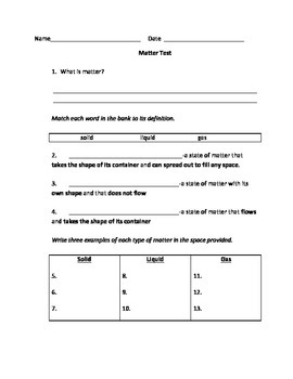 Matter Study Guide and Test for 2nd-4th grade
