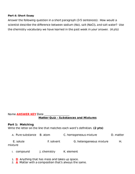 Matter Study Guide and Quiz: Substances and Mixtures