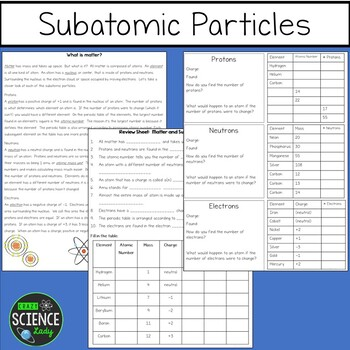Matter: Subatomic Particles