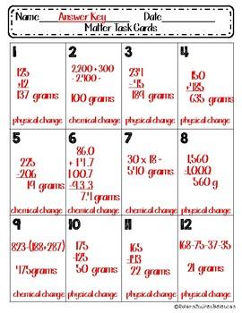 Matter Sum of its Parts Task Cards {12 Science Scenarios}
