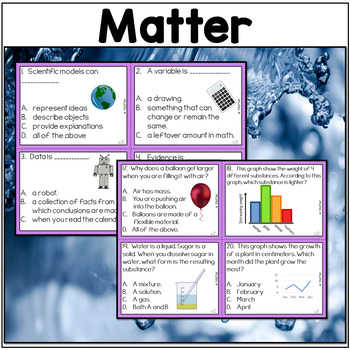 NGSS Matter and Its Interactions Fifth Grade Science