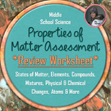 Properties of Matter Test Practice Questions Review Worksheet