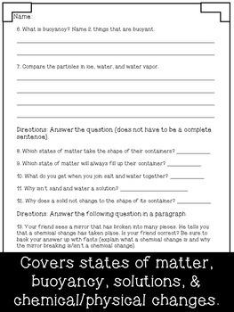 Matter Test ~ Science ~ Regular & Modified Quiz ~ Grades 4-5