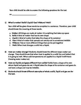 Matter Test and Review Sheet