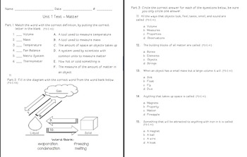 Matter Unit Assessment and Study Guide