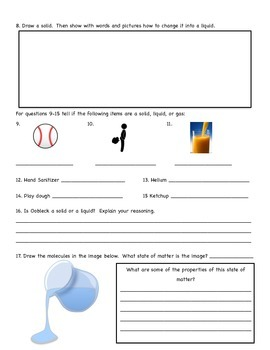 Matter Unit Assessment (solid, liquid, gas, and changes in