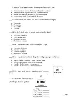 Matter Unit NGSS Aligned Assessment