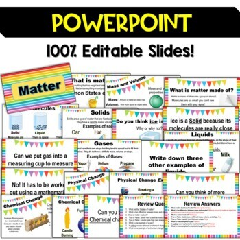 Matter Unit Pack: Interactive Notebook, Editable PowerPoint, Printables