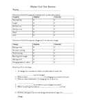 Matter Unit Review Worksheet