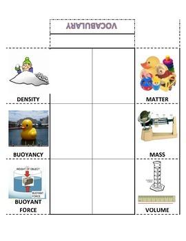 Matter Unit Vocabulary Foldable