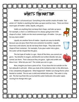 Matter Unit for 3rd Grade