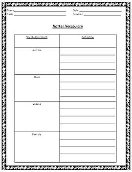 Matter: Vocab and Characterictics