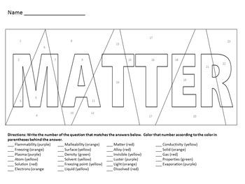 Matter Vocabulary Activities
