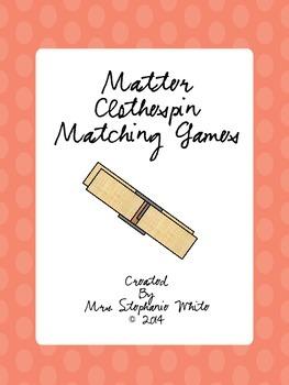 Matter Vocabulary Clothespin Matching Games