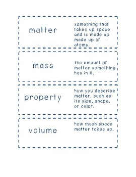 Matter Vocabulary Flash Cards